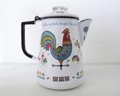 Scandinavian Berggren Enamel Rooster Mid Century Stovetop 8 Cup Coffee Percolator