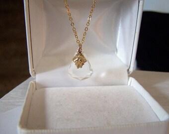 Art Deco Pendant Necklace Authentic Vintage Beveled Glass Fan Gold Filled Womens Leaf Embellished