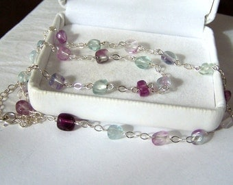 Gemstone Pebble Necklace Genuine Rainbow Fluorite Artisan Wire Wrapped Sterling Silver Polished Baroque