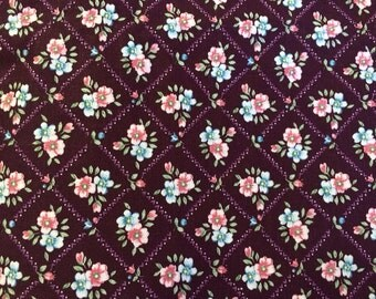 Purple Floral Cotton Print Fabric 3 and 3/4 yards