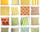 Pillow Fabric Sample - Yellows, Greens, Oranges - Pick Solid and Print Fabric Swatches for Decorative Throw Cushions - COUPON Included