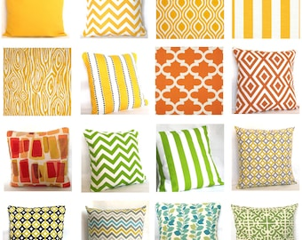 Fabric Sample - Yellows, Greens, Oranges - Pick Solid and Print Fabric Swatches for Decorative Throw Cushions - COUPON Included