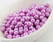 4mm Light Purple Pearl Beads (100) Czech Small Glass Thin Pressed Round Druk Opaque Spacers