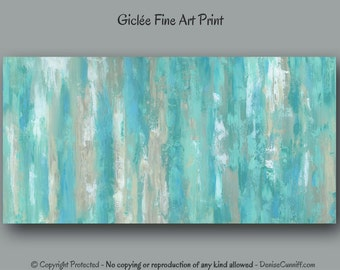 Teal wall art, Abstract painting - giclee fine art print, Mint green home decor, Bedroom, Office, Large artwork, Extra wide panoramic
