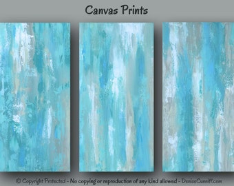 Blue abstract wall art, Large three piece Canvas print set triptych, Aqua Teal Gray home decor, Master bedroom, Office XXL Oversized artwork