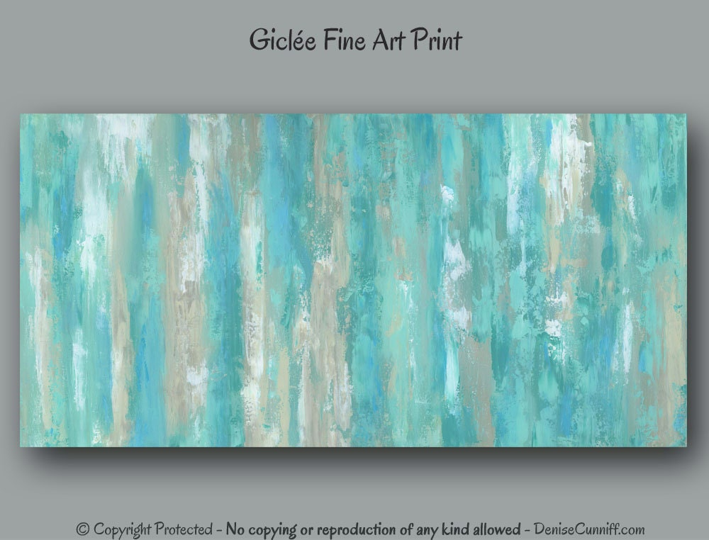 Teal Wall Art Abstract Painting Giclee Fine Art Print Mint