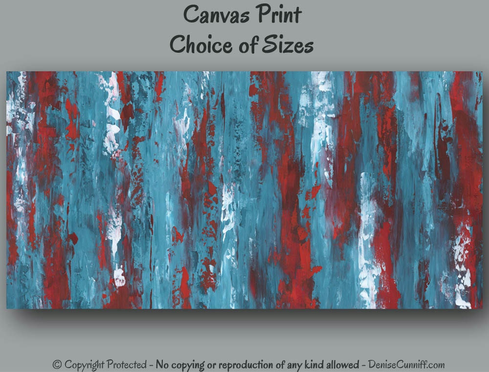 Turquoise Teal Wall Decor : Turquoise red teal home decor large wall art abstract