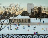 Ice Skating Frog Pond Boston 8x10 archival print  SIGNED  by Alison Vernon