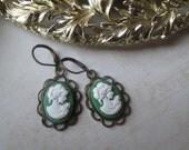 Green & White Cameo Earrings, Antique Brassy Bronze Details - Vintage, Victorian Inspired Earrings, Filigree Framed Cameo Earrings