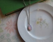 Vintage Light Pale Pink Opal Glass Pendant Necklace, Pink Jewel, Silver Prong Set, Jewelry, Nickel Free, 18 Inch, Oval Drop