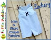 Toddler Romper Pattern, Jon Jon Pattern,  Boy's pdf sewing pattern. Toddler Sewing Pattern. Short and Long Romper Pattern. Infant pdf