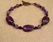 Amethyst Bracelet - February Birthstone - Reiki Jewelry - Spirituality Meditation Sobriety Stone - Purple Bracelet