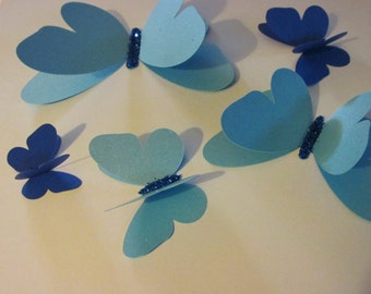 3D butterflies, wall butterflies, assorted butterfly silhouettes(Shades of blue with glitter)