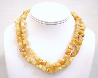 Yellow Jade Necklace Small Chip Nugget Stone Beads 36 inch FREE CLASP