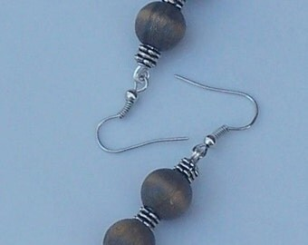 Earrings Indigo Wood Beads BOHO Beach Casual Pretty Jewelry Wooden Blue Beaded Fish Hooks Fashion