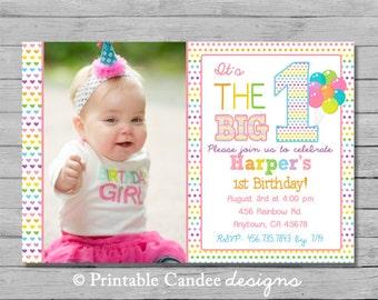 Rainbow Girl First Birthday Invitation - DIY Custom Printable