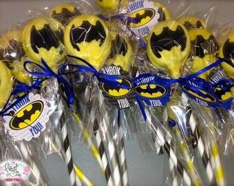 Edible Batman Superhero Oreo Pops Frost the Cake Birthday Favors