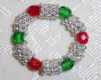 Made to Order - Stretch Crystal and Silver or Gold Plated Spacer Bead Rings - One Size Fits Most - Assorted Colors