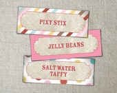 Colorful candy jar labels | Carnival stickers or labels | Personalized and printable. Custom colors and wording available.