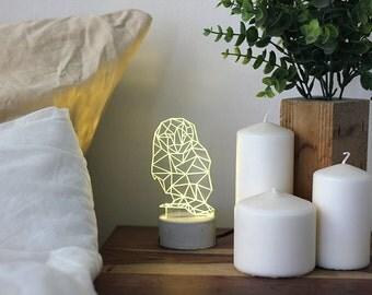 Grey concrete owl lamp, animal night light, owl night light.