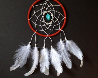 Red, White, and White Feathers Small Dream Catcher