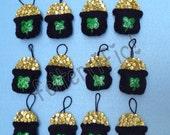 1 Dozen Handmade Felt Mini Pot of Gold St. Patricks Day Ornaments