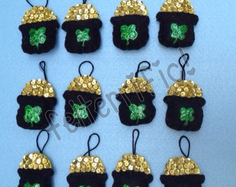 1 Dozen Handmade Felt Mini Pot of Gold St. Patricks Day Ornaments