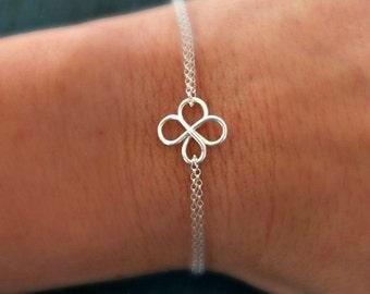 Four Leaf Clover Bracelet, Friendship Bracelet,Bridesmaid Bracelet, Silver Friendship Bracelet, sisters Gift, Irish Wedding Gifts