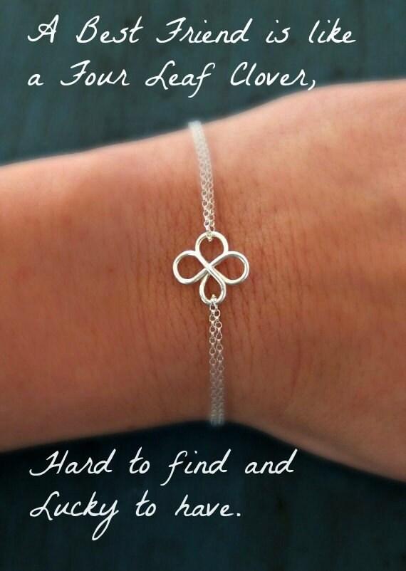 four leaf clover bracelet friendship braceletbridesmaid