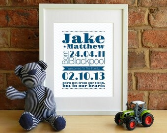 Boys Personalised Adoption Keepsake Print - Baby, Child - Chevron - ZigZag - 8x10 inch