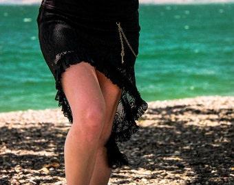 Black Skirt, Mesh Black Skirt, Sheer, Gypsy Clothing, Fairy Skirt