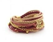 Marsala Summer Bracelet, Wrap Bracelet, Boho Bracelet, Bordeaux Golden Bracelet, Gypsy Bracelet, suede, double wrap, boho chic