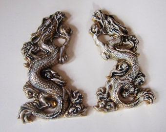 Dragons set of Two Vintage Asian Dragons Chalkware style