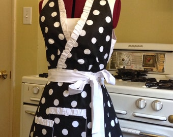 Black with White Polka Dots Full Haltered Apron, L XL Full Apron with pockets