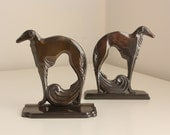 Vintage Art Deco Russian Wolfhound Bronze-Plated Bookends (Borzoi)