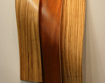 37% OFF! 'Wooden Wave' - 48x20in. - Wavy Wood Artwork - Modern Wood Sculpture - Curved Wood Art - Wood Strip Art - Wooden Wall Sculpture