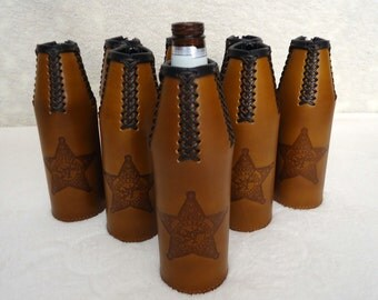 Personalized Handmade Leather Bottle Cooler, Personalized Leather Beer Hugger