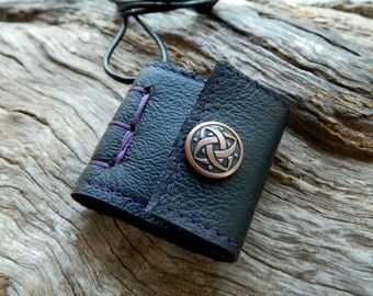 Miniature Leather Book Necklace with Celtic Stud Black and Purple Jewelry