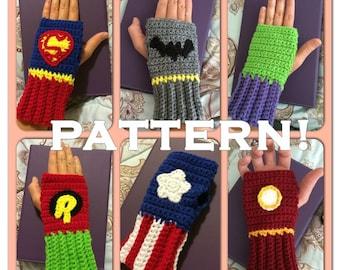 PDF CROCHET PATTERN: Superhero Fingerless Kids gloves