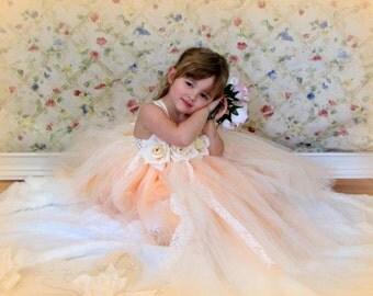 Sweet Georgia Peach Couture Flower Girl  Tutu Dress  SIZES 12M - 5t