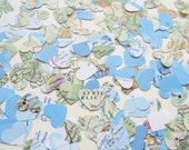 World Map Atlas Confetti Hearts - Choose from amounts of 200 to 2000 - Wedding Travel  Decor