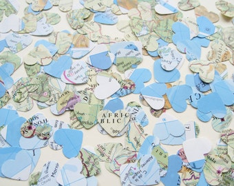 World Map Atlas Confetti Hearts - Choose from 250, 500, 750 and 1000 - Wedding Travel Vintage Decor