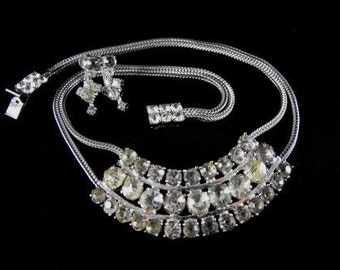 Clear Rhinestone Necklace Earrings Set Silver Tone Double Serpentine Chain Jeweled Clasp
