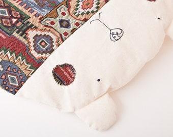 Bear Pillow, Tribal, Decorative Pillow, Children's Room Decor, Bear cushion, Diameter 42 cm, Home and living