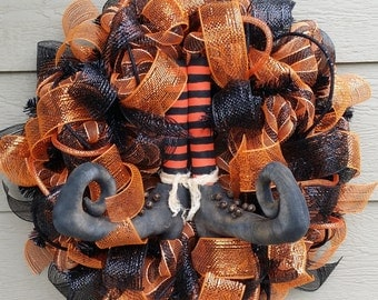 Halloween Wreath Deco Mesh - Deluxe Version with Ribbons - Matches Garland