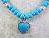 Brighton SilverTurquoise HEART on Custom Turquoise Necklace with Silver Plated Bead Accents