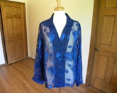 Womens Blouse, Blue Blouse, Long Sleeve Blouse, Chiffon Blouse, Hand Made Blouse