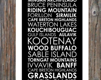 National Parks of Canada - Poster 12x36 - Modern Print