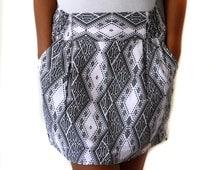 Tribal Mini Skirt with Pockets, Black and white skirt