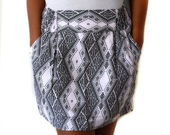 Tribal Mini Skirt with Pockets, Black and white skirt